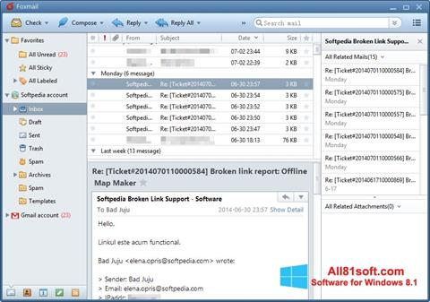 Στιγμιότυπο οθόνης FoxMail Windows 8.1