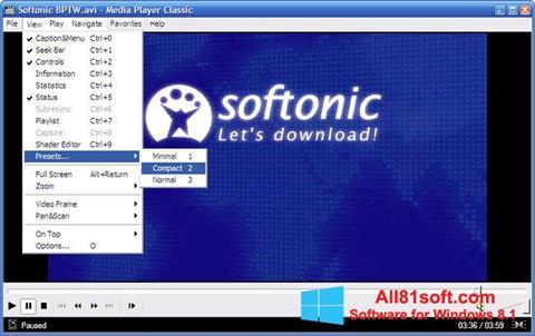 Στιγμιότυπο οθόνης Media Player Classic Windows 8.1