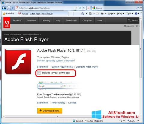 Στιγμιότυπο οθόνης Adobe Flash Player Windows 8.1