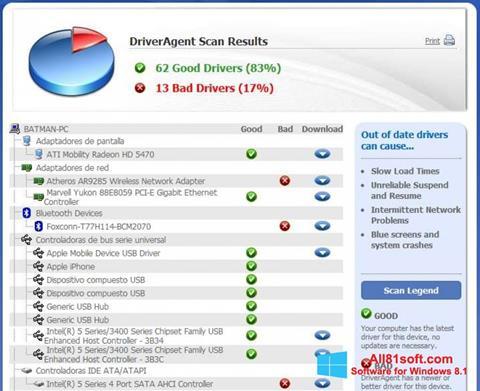 Στιγμιότυπο οθόνης DriverAgent Windows 8.1