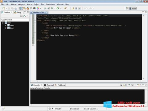 Στιγμιότυπο οθόνης Aptana Studio Windows 8.1