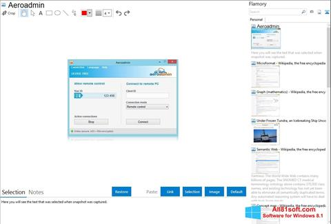 Στιγμιότυπο οθόνης AeroAdmin Windows 8.1