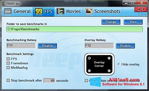 Στιγμιότυπο οθόνης Fraps Windows 8.1