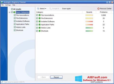 Στιγμιότυπο οθόνης Auslogics Registry Cleaner Windows 8.1