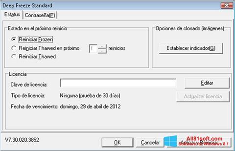 Στιγμιότυπο οθόνης Deep Freeze Windows 8.1