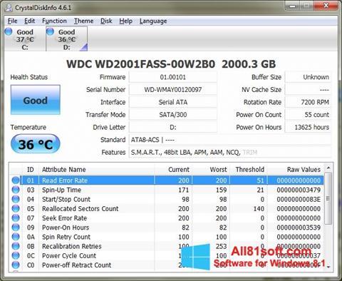 Στιγμιότυπο οθόνης CrystalDiskInfo Windows 8.1