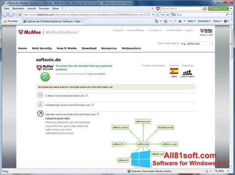 Στιγμιότυπο οθόνης McAfee SiteAdvisor Windows 8.1