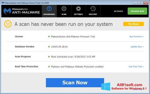 Στιγμιότυπο οθόνης Malwarebytes Anti-Malware Free Windows 8.1