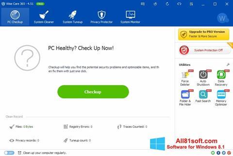 Στιγμιότυπο οθόνης Wise Care 365 Windows 8.1