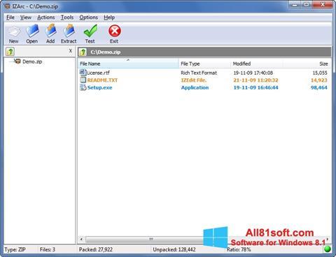 Στιγμιότυπο οθόνης IZArc Windows 8.1