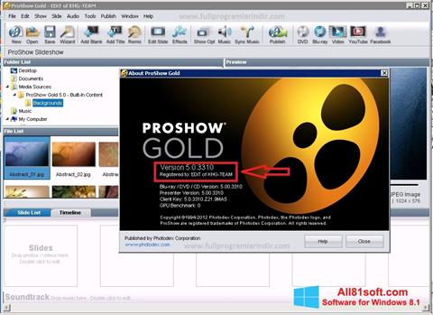Στιγμιότυπο οθόνης ProShow Gold Windows 8.1