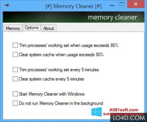Στιγμιότυπο οθόνης Memory Cleaner Windows 8.1