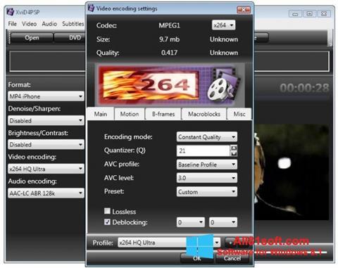 Στιγμιότυπο οθόνης XviD4PSP Windows 8.1