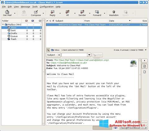 Στιγμιότυπο οθόνης Claws Mail Windows 8.1