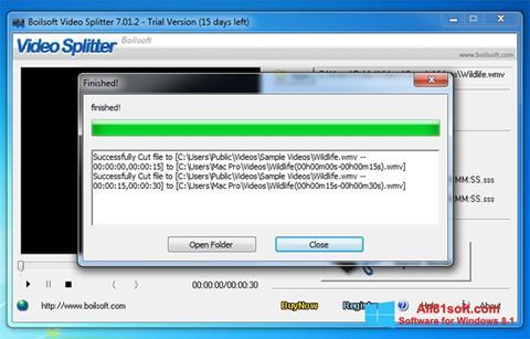 Στιγμιότυπο οθόνης Boilsoft Video Splitter Windows 8.1
