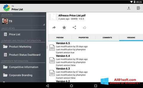 Στιγμιότυπο οθόνης Alfresco Windows 8.1