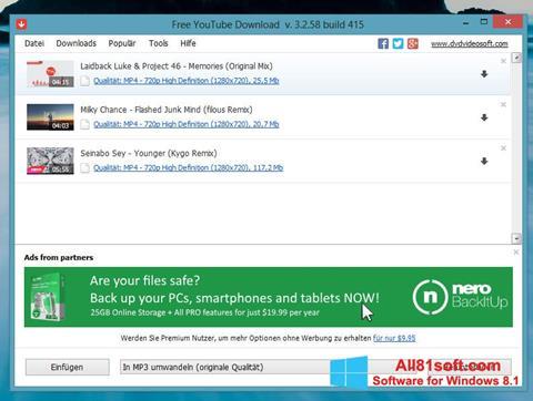 Στιγμιότυπο οθόνης Free YouTube Download Windows 8.1