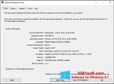 Στιγμιότυπο οθόνης DirectX Windows 8.1