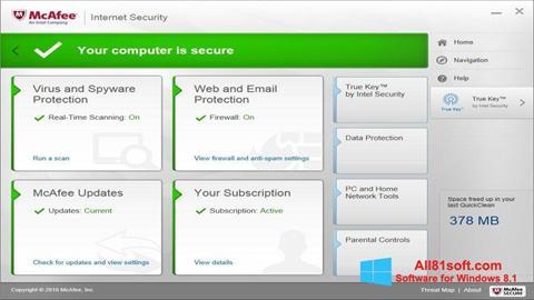 Στιγμιότυπο οθόνης McAfee Windows 8.1