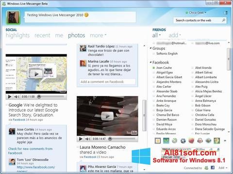 Στιγμιότυπο οθόνης Windows Live Messenger Windows 8.1