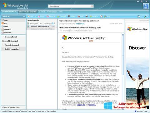 Στιγμιότυπο οθόνης Windows Live Mail Windows 8.1