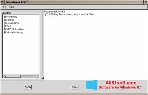 Στιγμιότυπο οθόνης PowerTweak Windows 8.1