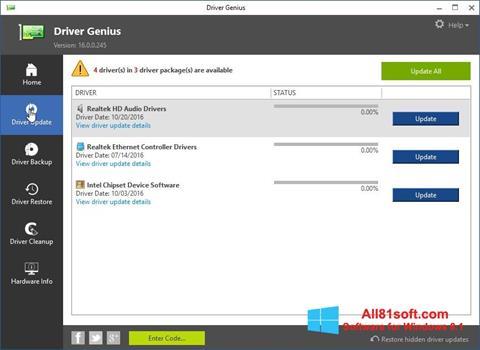 Στιγμιότυπο οθόνης Driver Genius Windows 8.1