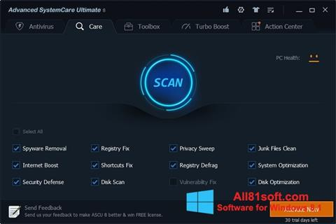 Στιγμιότυπο οθόνης Advanced SystemCare Ultimate Windows 8.1