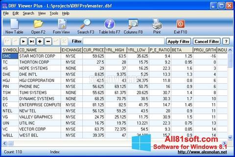 Στιγμιότυπο οθόνης DBF Viewer Windows 8.1