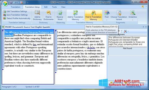 Στιγμιότυπο οθόνης PROMT Windows 8.1