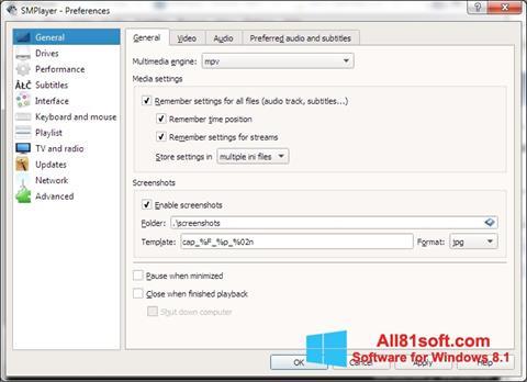 Στιγμιότυπο οθόνης SMPlayer Windows 8.1