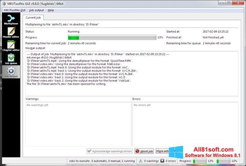 Στιγμιότυπο οθόνης MKVToolnix Windows 8.1