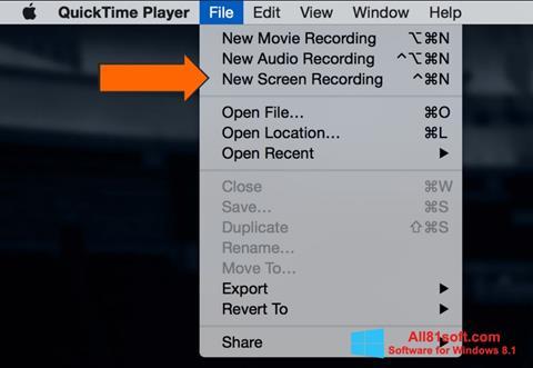 Στιγμιότυπο οθόνης QuickTime Windows 8.1