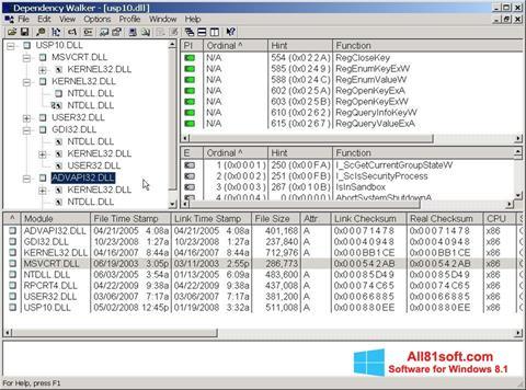 Στιγμιότυπο οθόνης Dependency Walker Windows 8.1