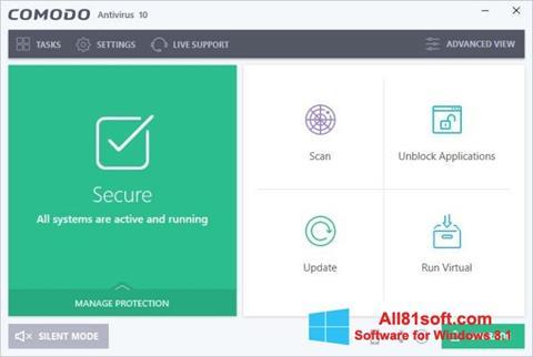Στιγμιότυπο οθόνης Comodo Antivirus Windows 8.1