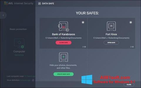 Στιγμιότυπο οθόνης AVG Internet Security Windows 8.1