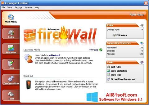 Στιγμιότυπο οθόνης Ashampoo Firewall Windows 8.1