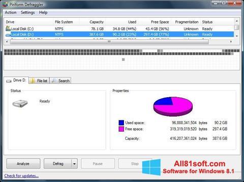 Στιγμιότυπο οθόνης Defraggler Windows 8.1