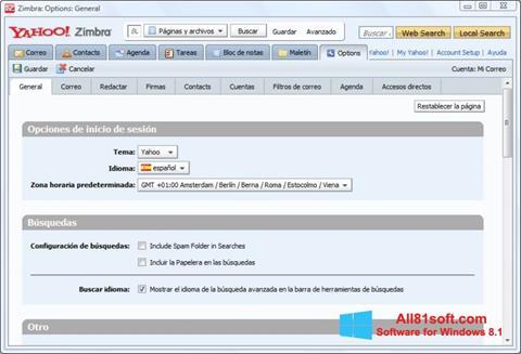 Στιγμιότυπο οθόνης Zimbra Desktop Windows 8.1