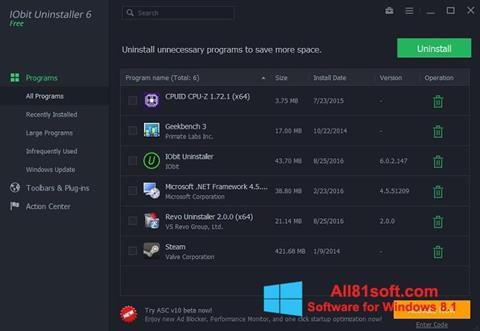 Στιγμιότυπο οθόνης IObit Uninstaller Windows 8.1