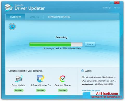 Στιγμιότυπο οθόνης Carambis Driver Updater Windows 8.1